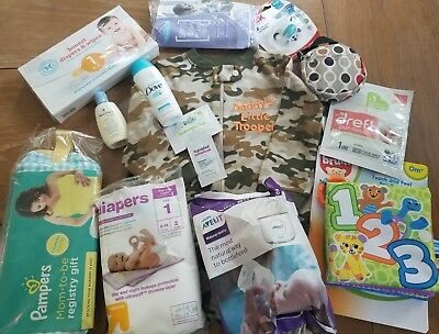 Lot Welcome Baby Box Honest Avent Nuk Dr. Brown's Pampers Organics boy pacifer