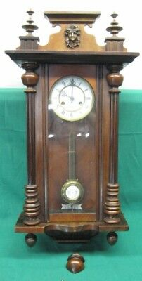 "Antique Junghans Vienna Regulator Clock with Carved Head 32""; Serviced"