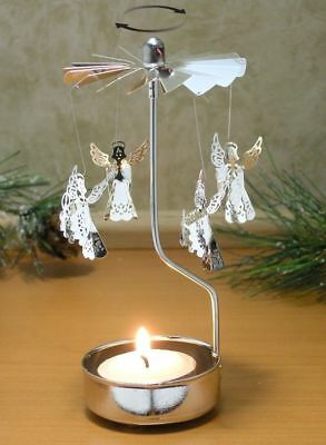 "Spinning Silver Metal *angel* 6""h Carousel Tealight Candle Holder Christmas Nib"