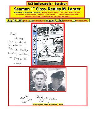 USS INDIANAPOLIS SURVIVOR ~ ONE of ONLY 317 ~ Seaman 1st Class, Kenley M. Lanter