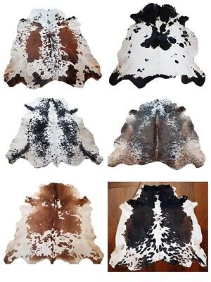 New Large 100% Cowhide Leather Rugs Tricolor Cow Hide Skin Carpet Area 21-35Sqft