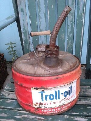 1960's TROLL~OIL Vintage Gas Utility Can 2-1/2 Gal, Western Oil Fuel Co. USA
