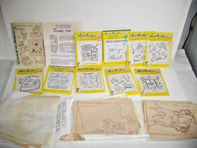 Vintage Lot Iron On Embroidery Transfer Patterns Grab Bag Variety + Aunt Martha