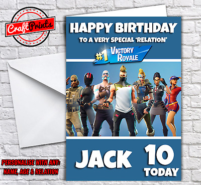 Fortnite Battle Royale Personalised Birthday Card