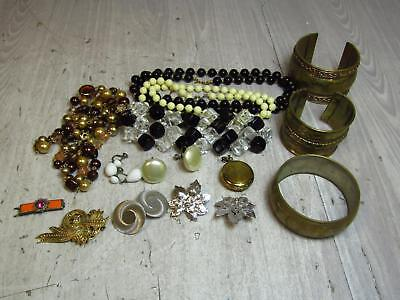 Vintage Costume Jewelry Lot Statement Cuff Bracelets Earrings Necklaces AS IS