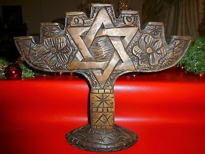 "Vintage Hand Carved Wood LARGE Menorah Folk Art Jewish Country 18.5""W - 15.5""H"