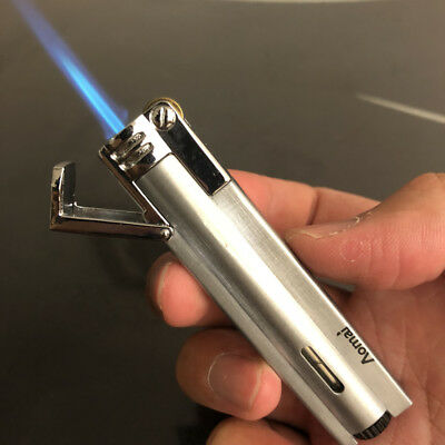 AM-1701 Jet Torch Refillable Lockable Flame Butane Viewable Cigar Lighter Silver