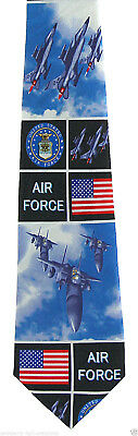 US Air Force Mens Necktie American USA Military Jet Pilot Flag Blue Neck Tie
