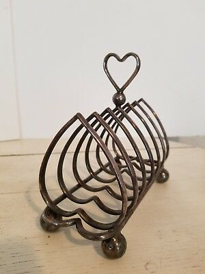 Vintage Heart Shaped Ball Feet Toast Rack Holder Or Letter Caddy Has Marking