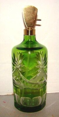 Vintage Irice Green Cut To Clear Glass Perfume Bottle Atomizer