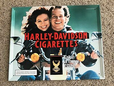 "Vintage New Old Stock 1987 Harley Davidson Cigarettes Embossed Sign 17"" x 21.5"""
