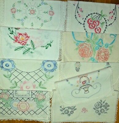 Lot of  9 Vintage~HAND EMBROIDERED~Lovely Old Lace~TABLE LINENS~CLOTHS & SCARVES