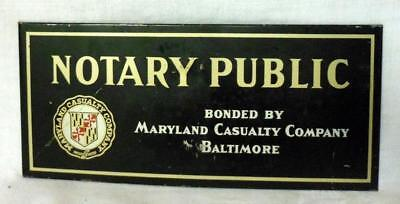 Maryland Casualty Insurance Co. Notary Public Tin Litho Sign