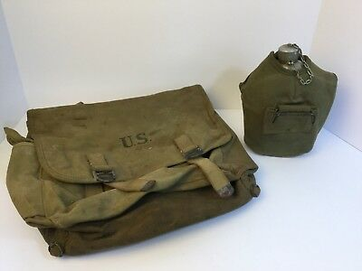 Vintage WWII (WW2) US ARMY Satchel(1944) and Canteen(M1910) With Cup And Cover
