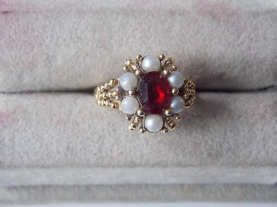 Avon Ring- Red Stone & Pearls Gold Plated Size 5
