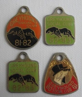 4 vintage GREYHOUND SOCIAL CLUB 80 - 81, 81 - 82, 82 - 83 Membership BADGES