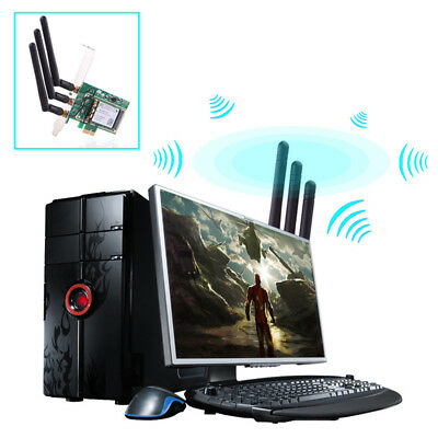 Fast 300Mbps PCI -E WiFi wireless Card Adapter Antennas for Desktop Laptop PC