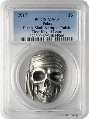 2017 $5 Palau Pirate Skull Antique Finish 1 oz. .999 Silver Coin PCGSMS69 FD