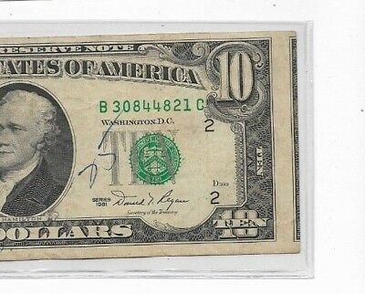 """$10(Cutting Error) """"2Nd Note Visible"""" (Reverse Normal) Crazy Note! Crazy Note!"""
