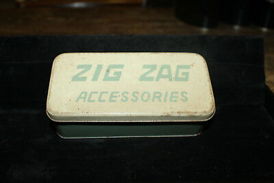 Vintage Zig Zag Accessories Metal Tin Box 1960's Mod Green