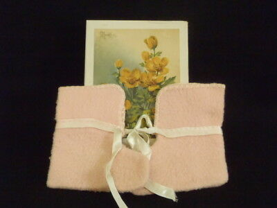 """Vintage c1950's pink Cotton flannel baby Booties Measures: 4"""" long and 4.5"""" tall"""