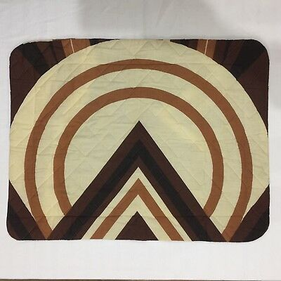 Vtg 70s Geometric Bed Pillow Sham Quilted Astrofill Sacks Textile Brown Rust