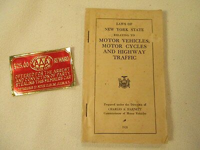 Booklet of New York State Motor Vehicle & Motor Cycle Laws 1928 & AAA Reward Tag