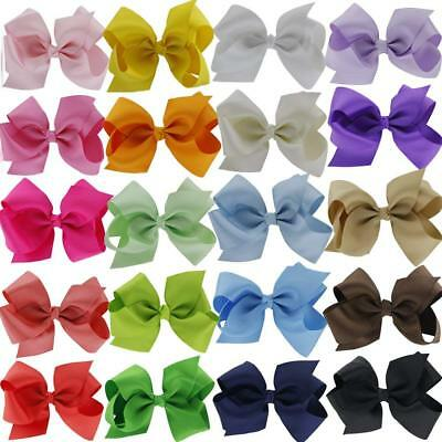 """QingHan 4.5"""" Hair Bow Clips Grosgrain Ribbon Boutique bows For Girls Babies Kids"""