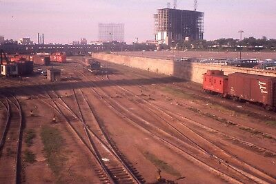 Original slide IC Illinois Central freight yard caboose scene in 1963