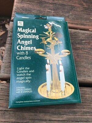 Hearth-Side Magical Spinning Angel Chimes w/ 8 Candles - Vintage New