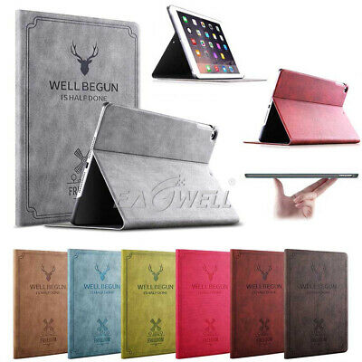 """For iPad 6th Generation 9.7"""" 2018 Vintage Book Flip Leather Smart Cover Case WQ"""