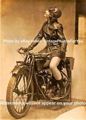 Old/Vintage Prohibition Era 1920s Sexy Flapper Art Deco Indian Motorcycle Photo