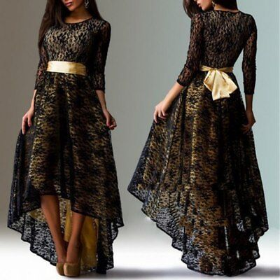 New Women Long Sleeve Lace Irregular Cocktail Evening Party Dress Plus Size 3XL