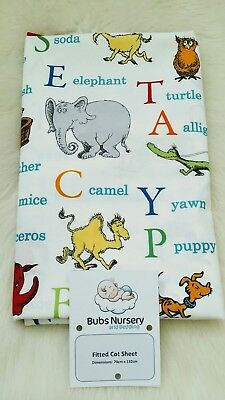 New Unisex Cot/ toddler bed cotton fitted sheet - 70 x 132cm - Dr Seuss