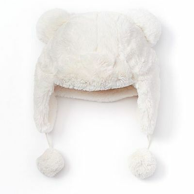 SO Girls Size Small (4-7) Ivory Fleece-Lined Faux-Fur Trapper Hat