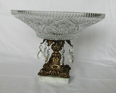 Vintage Glass Crystal Fruit Bowl Brass Stand,Prisms, Marble Stand ,Round