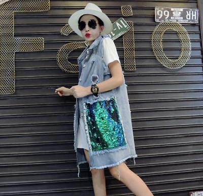 Women Sequins Long Jean Leisure Jacket Ripped Hole Washed Blue Denim Vest Chic