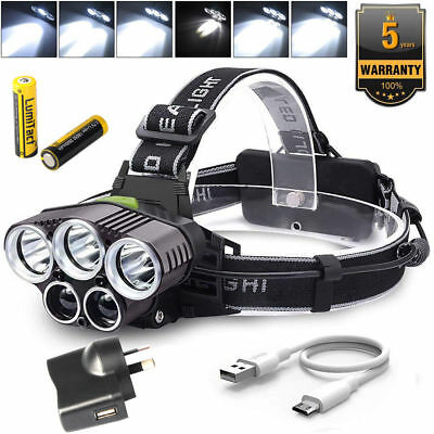 90000LM 5X XML T6 LED Headlamp Rechargeable Head Light Flashlight Torch USB