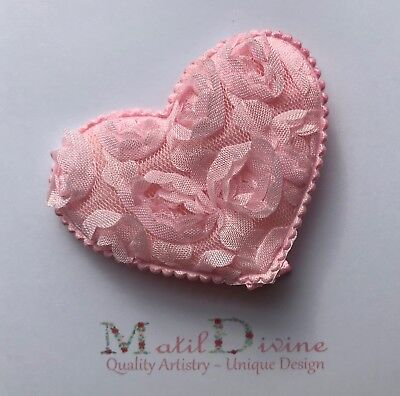 Baby Girl Toddler Non Slip Hair Clip 4.5cm Alligator Large Lace Rose Heart Pink
