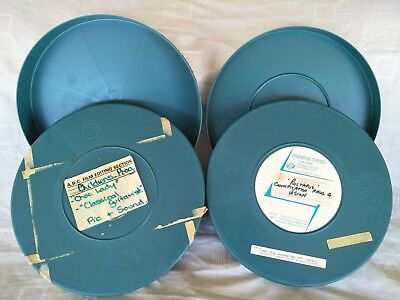 2 x Vintage Empty Movie Reel Cans 16mm & (One is double height) 27cm Diameter