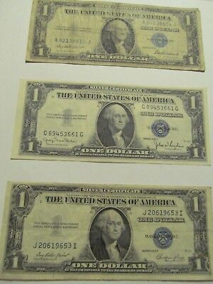 Three 1935 Silver Certificates No motto With Three Different Secretaries Signing