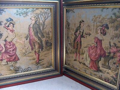2 framed machine woven TAPESTRY Pictures OLD WORLD LADIES & MEN french style