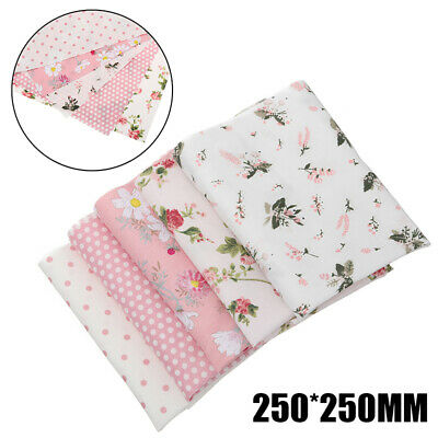 5Pcs Rose Assorti Tissu en Coton Carreaux Patchwork Coupon Fleur textile 25x25cm
