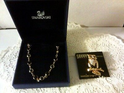 Swarovski Signed Crystal Necklace and Owl Brooch Set Black And Clear Crystals