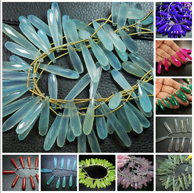 """Natural Chalcedony Faceted Long Teardrop Briolette Beads Strand 8"""" 25mm 30mm"""