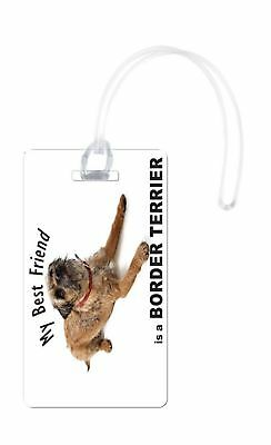 Rikki Knight My Best Friend is A Border Terrier Dog Flexi Luggage Tags, White