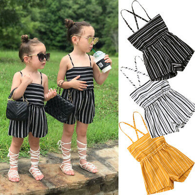 Infant Toddler Kids Baby Girls Stripe Romper Bodysuit Jumpsuit Outfits Playsuit