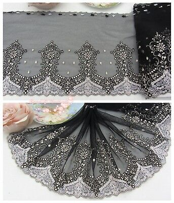 "8""*1Y Embroidered Floral Tulle Lace Trim~Black+White+Deep Beige~Magic Romance~"
