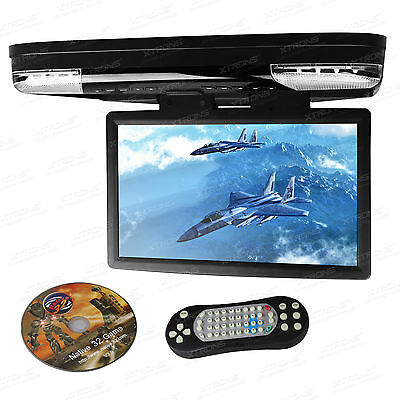 "15,6"" LCD 1080P Full HD Monitor Auto Deckenmonitor DVD Player HDMI flip down USB"