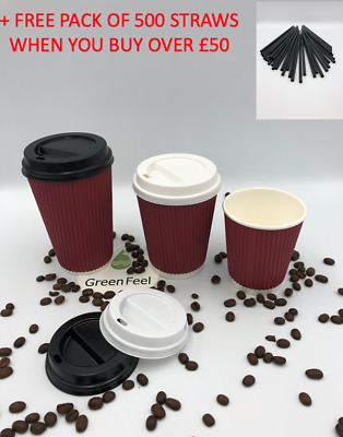 RED RIPPLE TRIPLE WALL PAPER CUPS COFFEE 8/12/16oz Disposable LIDS Hot Drinks !
